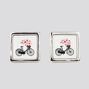 Vintage Bike With Hearts Square Cufflinks