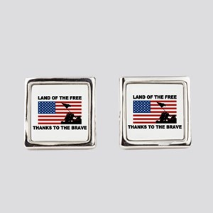 Land Of The Free Thanks To The Brave Square Cuffli