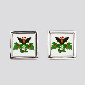 Christmas Holly With Bat Square Cufflinks