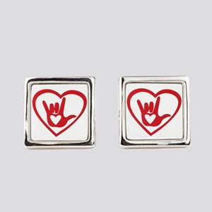 I love you with all my heart Square Cufflinks