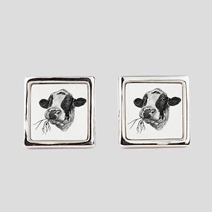 Happy Holstein Friesian Dairy Cow Square Cufflinks
