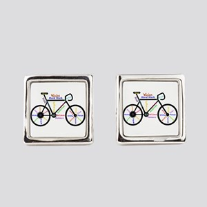 Bike Made Up Of Words To Motivate Cufflinks