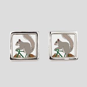 Squirrel On Bike With Acorn Wheel Square Cufflinks