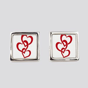 3 Hearts Square Cufflinks