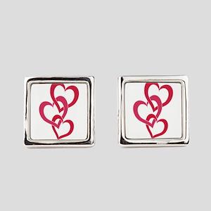 3 Hearts 2 Square Cufflinks