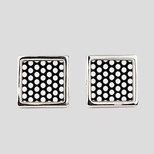 #Black And White Polka Dots Square Cufflinks