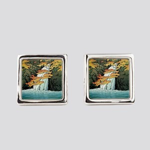 Senju Waterfall, Akame - Kawase H Square Cufflinks