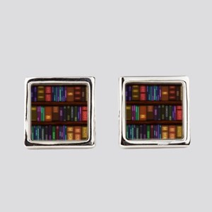 Old Bookshelves Square Cufflinks