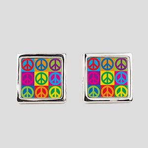 Pop Art Peace Square Cufflinks
