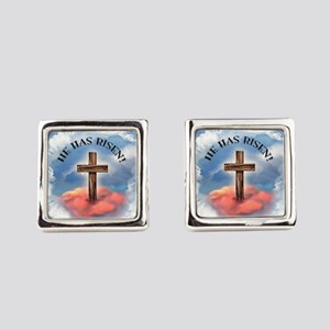 He Has Risen Rugged Cross With Cl Square Cufflinks