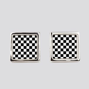 BLACK AND WHITE Checkered Pattern Square Cufflinks