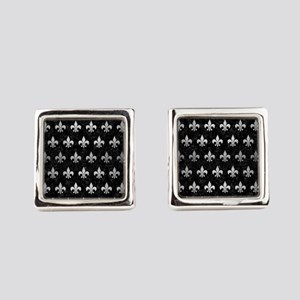 ROYAL1 BLACK MARBLE & SILVER BRUS Square Cufflinks