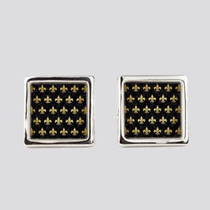 ROYAL1 BLACK MARBLE & GOLD BRUSHE Square Cufflinks