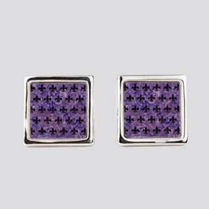 ROYAL1 BLACK MARBLE & PURPLE MARB Square Cufflinks