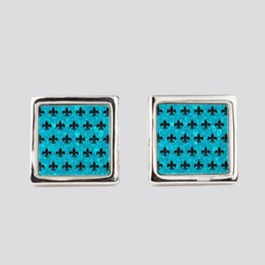 ROYAL1 BLACK MARBLE & TURQUOISE M Square Cufflinks