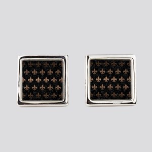 ROYAL1 BLACK MARBLE & BRONZE META Square Cufflinks
