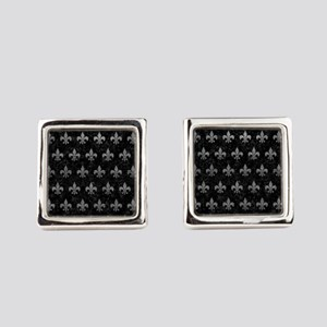 ROYAL1 BLACK MARBLE & GRAY LEATHE Square Cufflinks