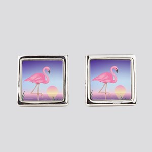 Pink Flamingo Square Cufflinks
