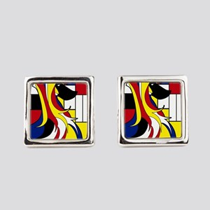 Geometric Afghan Hound Abstract Square Cufflinks