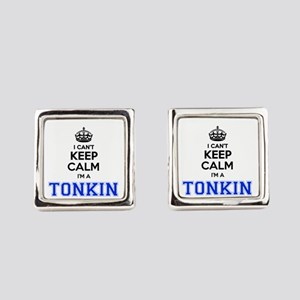 I can't keep calm Im TONKIN Square Cufflinks