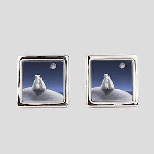 Polar Bears by Moonlight Square Cufflinks