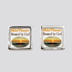BLESSED BY GOD Square Cufflinks