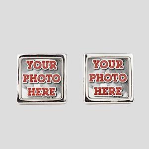 CUSTOM Your Photo Here Square Cufflinks