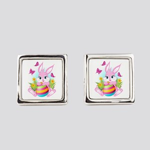 Pink Easter Bunny Square Cufflinks