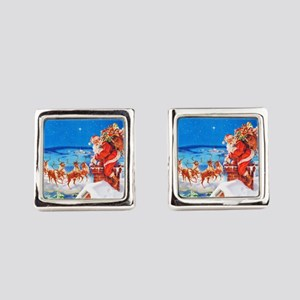 Santa and His Reindeer Up On a Sn Square Cufflinks