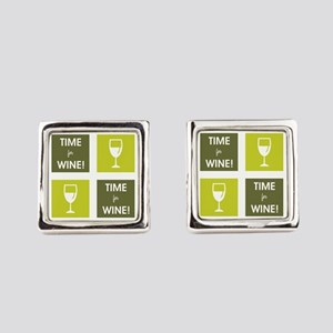 TIME FOR WINE! Square Cufflinks