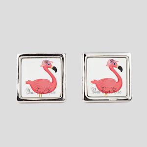Pink Flamingo Lady Square Cufflinks