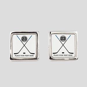 Ice Hockey Personalized Square Cufflinks