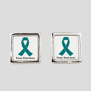 Teal Ribbon Awareness Square Cufflinks