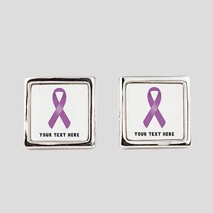 Purple Awareness Ribbon Customize Square Cufflinks