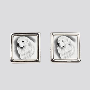 Great Pyrenees Charcoal Portrait Square Cufflinks