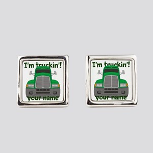 Personalized Im Truckin Square Cufflinks