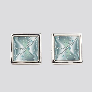 Teal Pearl Abstract Square Cufflinks