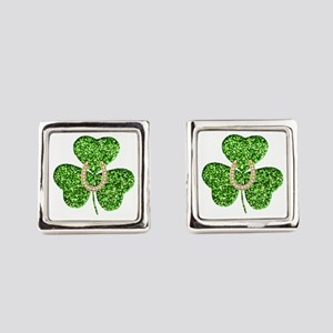 Glitter Shamrock And Horseshoe Cufflinks