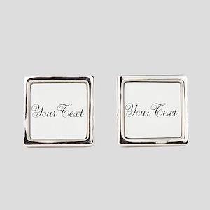 Personalizable Black Script Square Cufflinks
