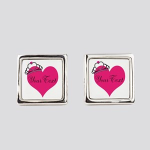 Personalizable Pink Heart with Crown Square Cuffli