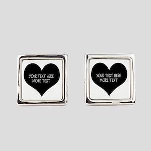 Black heart Square Cufflinks