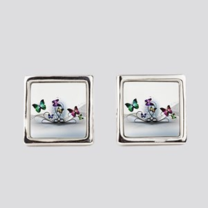 Colorful Butterflies Square Cufflinks