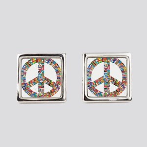 Peace to All Nations Square Cufflinks