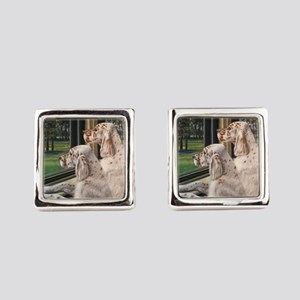 English Setter Puppies Square Cufflinks