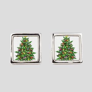 Marijuana Christmas Tree Square Cufflinks