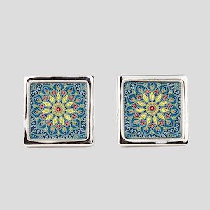 Mandala Flower Square Cufflinks