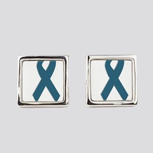 Conquer All. Teal Ribbon Square Cufflinks