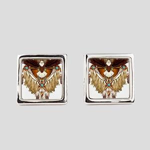 Bald Eagle Mandala Square Cufflinks