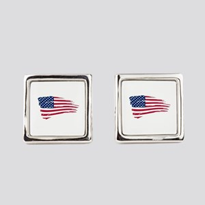 Tattered US Flag Square Cufflinks
