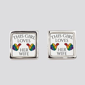 This Girl Loves Her Wife Square Cufflinks